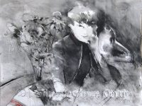 His Masters Voice2 black and white Pastel 31 44 2015 title=